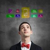 Iconos del uso del medios interfaz Imágenes de archivo libres de regalías