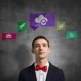 Iconos del uso del medios interfaz Imagen de archivo libre de regalías