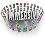 Iconos del uso del programa informático del App de la palabra de Immersive Imagen de archivo libre de regalías