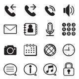 Iconos del uso del teléfono móvil y del smartphone fijados Imagen de archivo