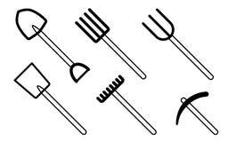 Iconos del utensilio de jardinería Foto de archivo libre de regalías