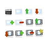 Iconos del vídeo de los media de la galería Fotografía de archivo libre de regalías
