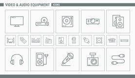 Iconos del vídeo y del equipo de audio - web y móvil 01 del sistema stock de ilustración