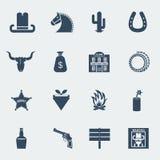 Iconos del vaquero. Pictogramas del oeste salvajes del vector aislados stock de ilustración