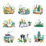 Iconos del vector del ambiente de la naturaleza de la ecología y de la reserva ilustración del vector