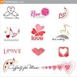 Iconos del vector: amor Fotografía de archivo libre de regalías