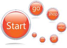 Iconos del vector. Comience GO Shop Fotos de archivo
