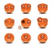 Iconos del vector de caras sonrientes Imagen de archivo