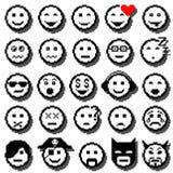 Iconos del vector de caras sonrientes Arte del pixel Foto de archivo