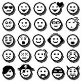 Iconos del vector de caras sonrientes Arte del pixel Imagenes de archivo