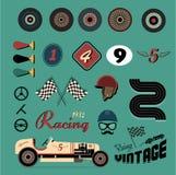 Iconos del vector de competir con de coche de la vendimia stock de ilustración