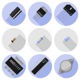 Iconos del vector de componentes electrónicos Foto de archivo