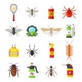 Iconos del vector de control de parásito en el fondo blanco Imagenes de archivo
