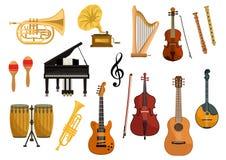 Iconos del vector de instrumentos musicales Imagen de archivo