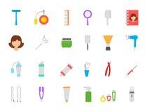 Iconos del vector de la barbería fijados Fotografía de archivo