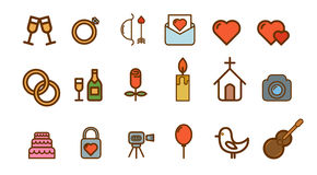 Iconos del vector de la boda fijados Fotos de archivo libres de regalías
