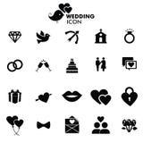 Iconos del vector de la boda fijados Fotos de archivo