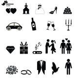Iconos del vector de la boda fijados Imagenes de archivo