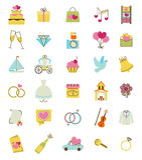 Iconos del vector de la boda fijados Accesorios de la ceremonia del compromiso y de boda libre illustration