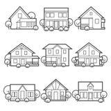 Iconos del vector de la casa fijados Fotografía de archivo libre de regalías