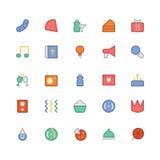 Iconos 7 del vector de la celebración y del partido Imagen de archivo libre de regalías