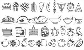 Iconos del vector de la comida Fotografía de archivo libre de regalías