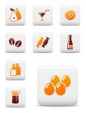 Iconos del vector de la comida y de la bebida Foto de archivo libre de regalías