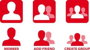 Iconos del vector de la comunidad de la red Imágenes de archivo libres de regalías