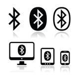 Iconos del vector de la conexión de Bluetooth fijados Fotos de archivo libres de regalías