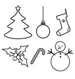 Iconos del vector de la decoración de la Navidad fijados Foto de archivo libre de regalías