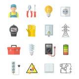 Iconos del vector de la electricidad en estilo plano Imagenes de archivo