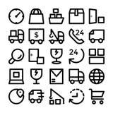 Iconos 7 del vector de la entrega de la logística Foto de archivo
