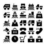 Iconos 1 del vector de la entrega de la logística Imágenes de archivo libres de regalías