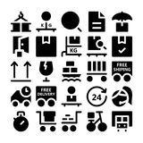 Iconos 4 del vector de la entrega de la logística Fotografía de archivo libre de regalías