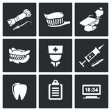 Iconos del vector de la estomatología fijados Fotografía de archivo