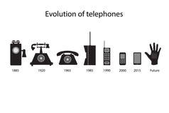 Iconos del vector de la evolución del teléfono Imagenes de archivo