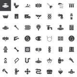 Iconos del vector de la fontanería fijados ilustración del vector