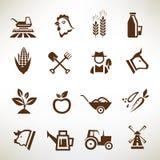 Iconos del vector de la granja y de la agricultura Fotografía de archivo