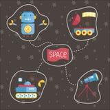 Iconos del vector de la historieta del espacio fijados Imagen de archivo libre de regalías