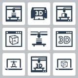 iconos del vector de la impresora 3D stock de ilustración