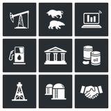 Iconos del vector de la industria del petróleo y gas fijados Foto de archivo libre de regalías