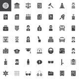 Iconos del vector de la ley y de la justicia fijados Fotografía de archivo libre de regalías