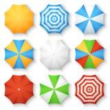 Iconos del vector de la opinión superior de las sombrillas de la playa Foto de archivo libre de regalías