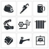Iconos del vector de la profesión del fontanero fijados Fotos de archivo libres de regalías