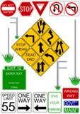 Iconos del vector de la señal y del poste de tráfico Fotografía de archivo