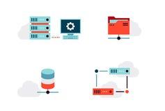 Iconos del vector de la virtualización fijados Fotografía de archivo libre de regalías