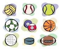 Iconos del vector de las bolas del deporte Imágenes de archivo libres de regalías