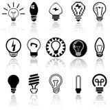 Iconos del vector de las bombillas fijados. EPS 10. Foto de archivo