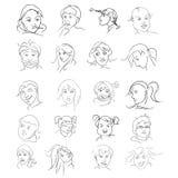 Iconos del vector de las caras de la gente Imágenes de archivo libres de regalías