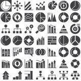 Iconos del vector de las cartas de las finanzas del negocio fijados